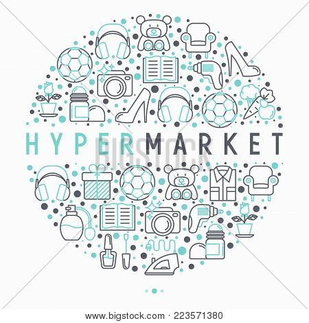 Hypermarket concept in circle with thin line icons: apparel, sport equipment, electronics, perfumery, cosmetics, toys, food, appliances. Modern vector illustration for web page template.