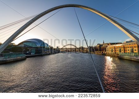 Newcastle Quayside- Gateshead Millenium Bridge And The Baltic In Sight