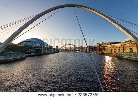 Newcastle Quayside- Gateshead Millenium Bridge And The Baltic In Sight