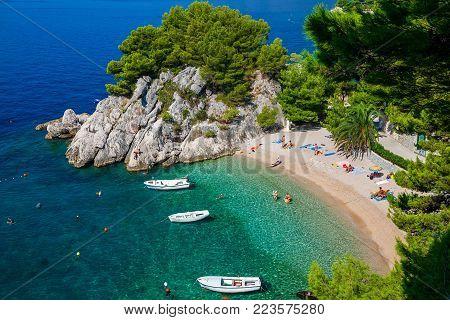aerial view of the beautiful cozy Podrace beach in Brela, Makarska Riviera, Croatia