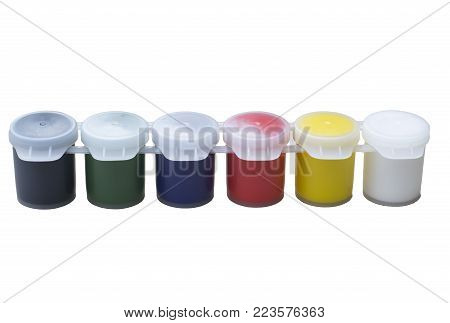 set of gouache paints in a row, six colors. Isolated on white background. new closed