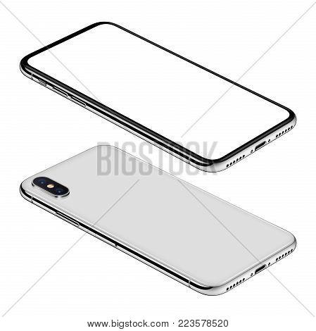 Similar to iPhone X white smartphone isometric mock-up. Frameless smartphone front and back sides isometric view lies on surface. Smartphone Isolated on white background. 3D illustration.