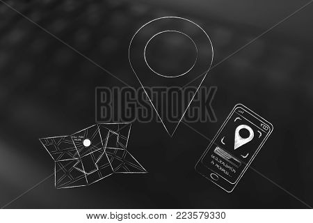 location services on phone and travelling conceptual illustration: GPS icon next to paper map and smarphone