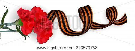 Vector realistic bud carnation flower illustration. Isolated white background. Saint George striped ribbon. Greeting card veteran memory. May 9 Victory Day. Winner Great war.