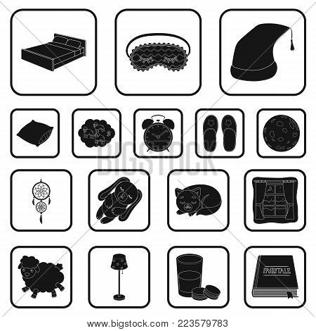 Rest and sleep black icons in set collection for design. Accessories and comfort vector symbol stock  illustration.