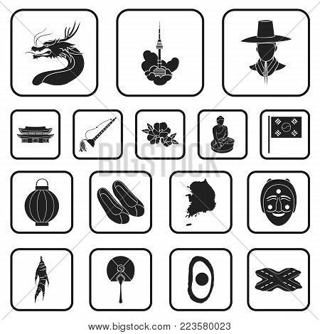 Country South Korea black icons in set collection for design.Travel and attraction vector symbol stock  illustration.