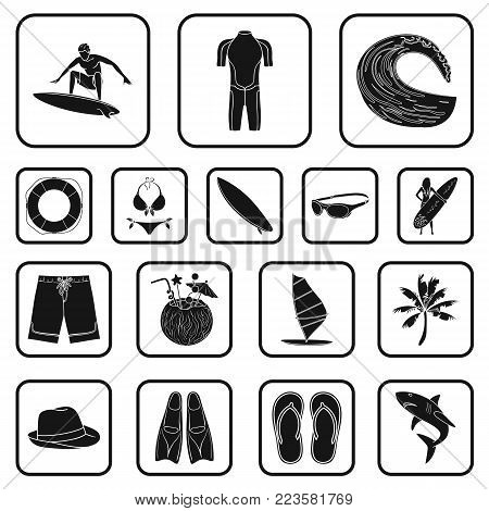 Surfing and extreme black icons in set collection for design. Surfer and accessories vector symbol stock  illustration.