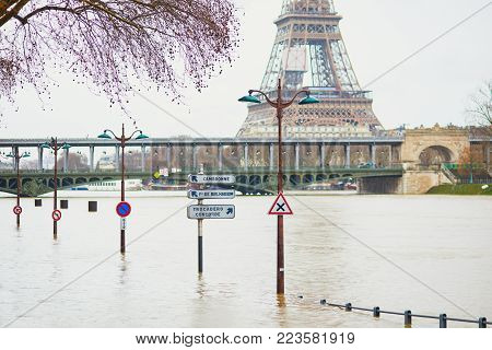 Paris - January 25: Paris Flood With Extremely High Water On January 25, 2018 In Paris, France. Drow