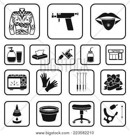 Tattoo, drawing on the body black icons in set collection for design. Tattoo salon and equipment vector symbol stock  illustration.