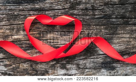 Red Heart Shaped Ribbon Awareness For World Aids Day Campaign Supporting People With Hiv, Std Diseas