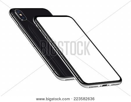 Similar to iPhone X perspective smartphones mockup front and back side one above the other. New modern black frameless smartphones with blank white screen and back side. Isolated on white background. 3D illustration.
