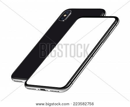 Similar to iPhone X perspective smartphones mockup front and back side one behind the other. New modern black frameless smartphones with blank white screen and back side. Isolated on white background. 3D illustration.
