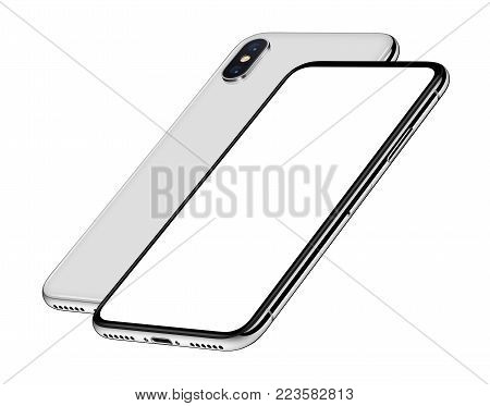 Similar to iPhone X perspective smartphones mockup front and back side one behind the other. New modern white frameless smartphones with blank white screen and back side. Isolated on white background. 3D illustration.