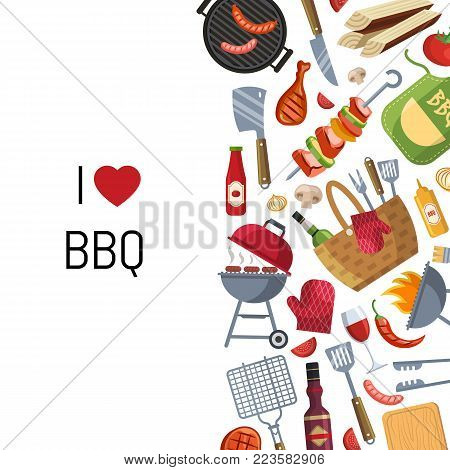 Vector illustration barbecue or grill cooking themed with place for text