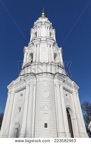 Ancient Holy Cross Exaltation Monastery . Bell tower. Poltava. Ukraine. Monument of architecture of national importance. Tourist attraction