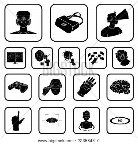 A virtual reality black icons in set collection for design. Modern technology and equipment vector symbol stock  illustration.