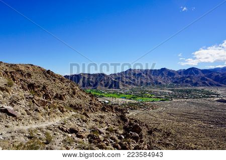View of Palm Springs oasis from desert hiking trail