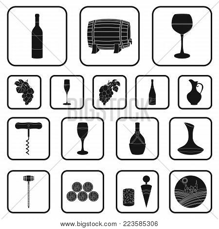 Wine products black icons in set collection for design. Equipment and production of wine vector symbol stock  illustration.