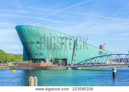 Amsterdam, Netherlands - 31 May 2017: beautiful view of Amsterdam's Nemo science museum