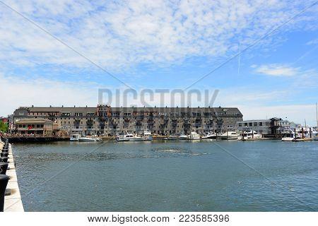 BOSTON - JUN. 11, 2014: Historic Buildings on Commercial Wharf at waterfront of Boston, Massachusetts, USA.
