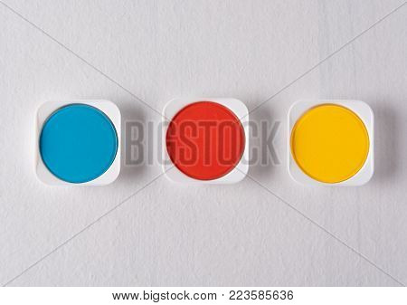 Color Mixing. Color Synthesis. Color models  CMYK with three primary colors watercolor blue or cyan red or magenta and yellow isolated