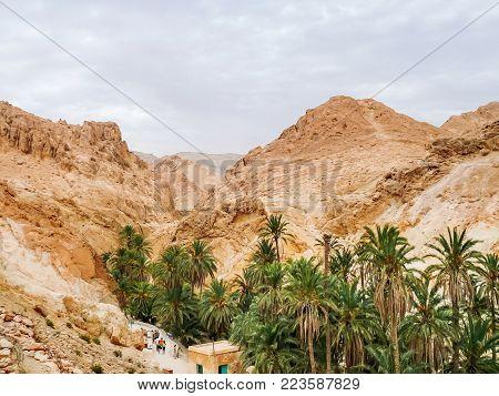 Tourists stand in line among the rocks of oasis Chebika, famous landmark in Sahara desert. Tunisia.