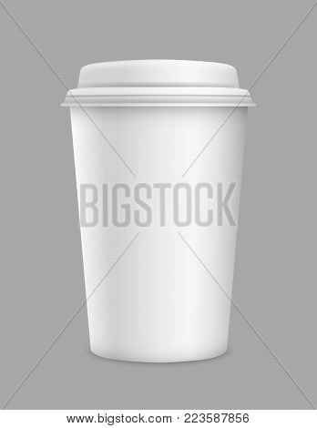 Vector realistic 3d blank paper take away cup isolated on grey background