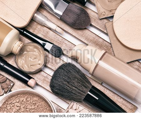 Makeup foundation products and accessories. Corrective make-up set