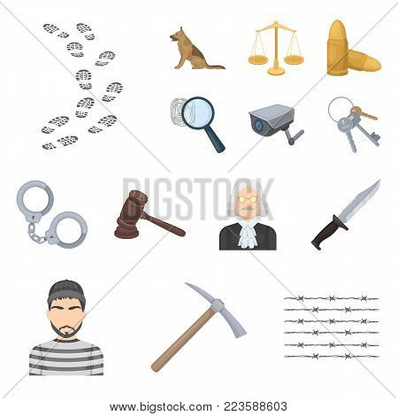 Prison and the criminal cartoon icons in set collection for design.Prison and Attributes vector symbol stock illustration.