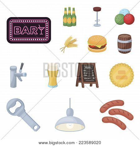 Pub, interior and equipment cartoon icons in set collection for design. Alcohol and food vector symbol stock  illustration.
