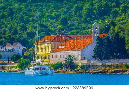 Scenic view at sailing destination in summertime, Island Vis colorful seascape.