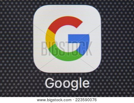 Sankt-Petersburg, Russia, January 25, 2018: Google application icon on Apple iPhone 8 smartphone screen close-up. Google app icon. Google is the most popular Internet search engine in the world