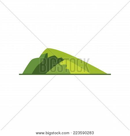 Sloping hill icon in flat style. Low mountain symbol isolated on white background
