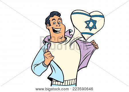 Israel patriot man isolated on white background. Comic cartoon style pop art illustration vector retro