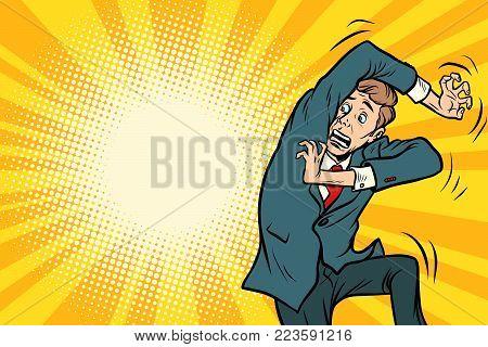 Funny scared man. Comic book cartoon pop art retro illustration