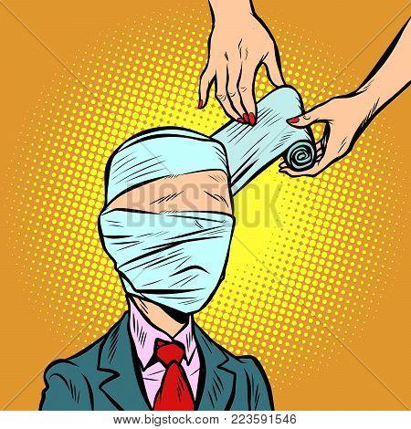 bandaged head, medical assistance. Comic book cartoon pop art retro illustration