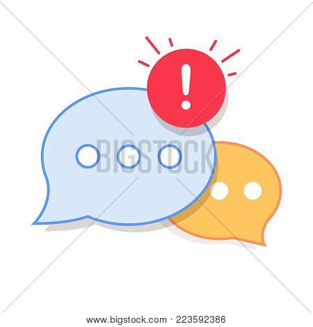 New Message, Dialog, Chat Speech Bubble Notification icon vector. Feedback alert on discussion symbols. Inbox message receive sign