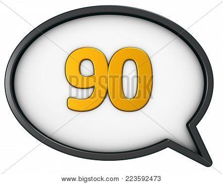 number ninety in speech bubble - 3d rendering