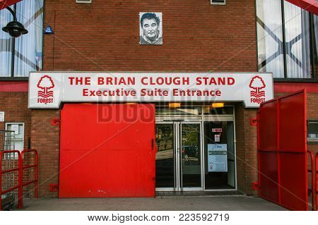 NOTTINGHAM, ENGLAND - MAY 08, 2012 : The Brian Clough Stand which is an executive suite entrance at Nottingham Forest Football Club at City Ground Stadium. Brian Clough is a legenday manager of this club.
