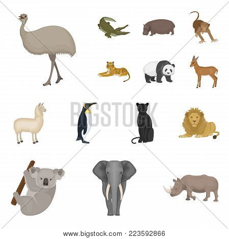 Different animals cartoon icons in set collection for design. Bird, predator and herbivore vector symbol stock  illustration.
