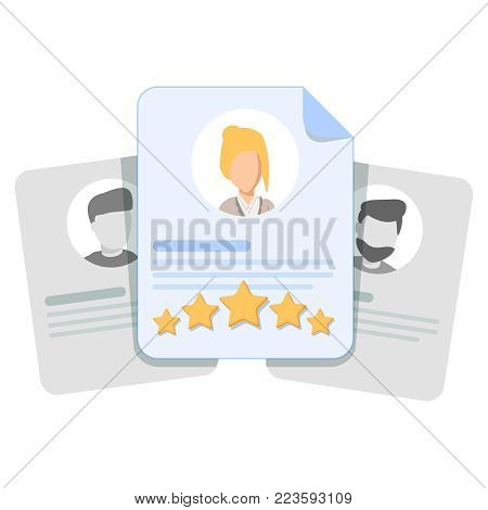 Customer review, user feedback, evaluation of an employee or a candidate for work. Card with human head, rating stars and shot review. Cute cartoon vector illustration concept. Flat outline design.