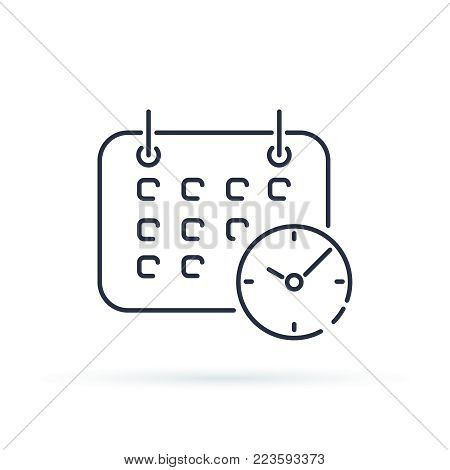 Business Calendar with clock icon. Shedule trendy line style symbol isolated on background. Agenda time and date icon vector minimalistic illustration