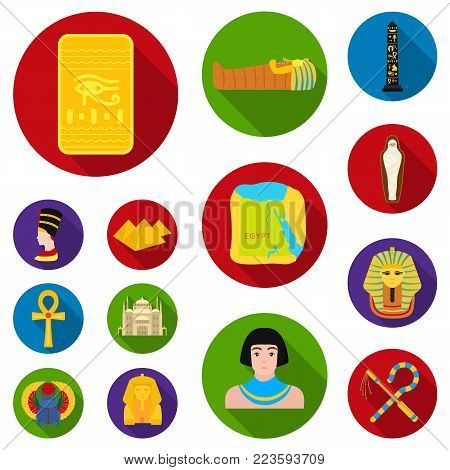 Ancient Egypt flat icons in set collection for design. The reign of Pharaoh vector symbol stock  illustration.