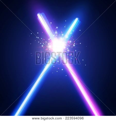 Abstract background with two crossed light neon swords fight. Glowing rays in space. Crossing laser sabers war. Club logo or emblem. Battle with star, flash and particles. Colorful vector illustration