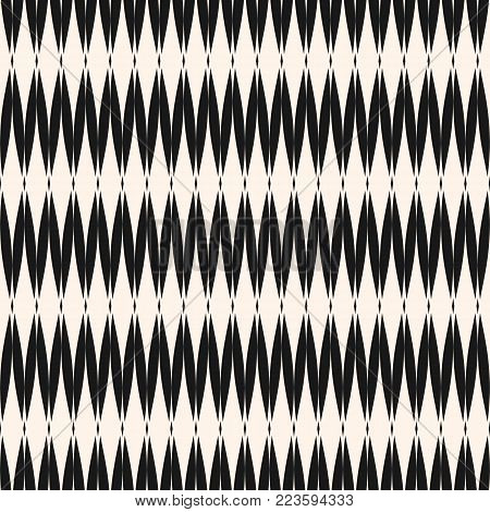 Vector mesh seamless pattern. Abstract graphic monochrome background with rhombuses, zigzag shapes, mesh grid texture. Art deco style illustration. Simple geometric repeat design for decor, fabric, textile, cloth, digital, web, covers, wrapping