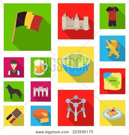 Country Belgium flat icons in set collection for design.Travel and attractions Belgium vector symbol stock  illustration.
