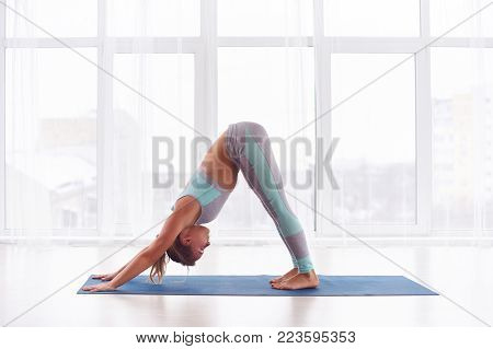 Beautiful young woman practices yoga asana Adho Mukha Svanasana - downward facing dog at the bright yoga class with large windows