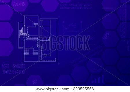 Engineering HVAC project in blue tones. Heating technical blueprint vector illustration. Architecture sketch.