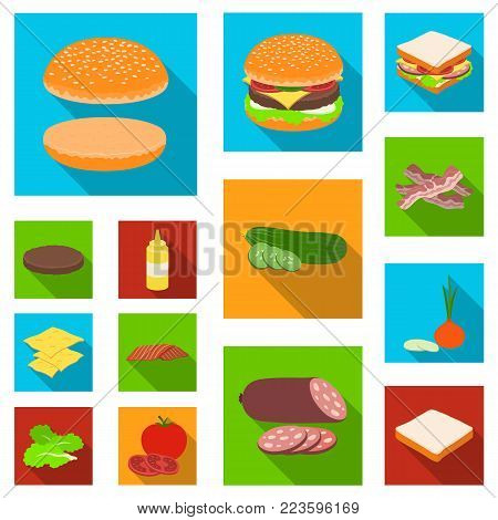 Burger and ingredients flat icons in set collection for design. Burger cooking vector symbol stock  illustration.