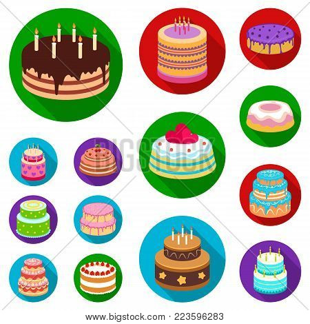 Cake and dessert flat icons in set collection for design. Holiday cake vector symbol stock  illustration.